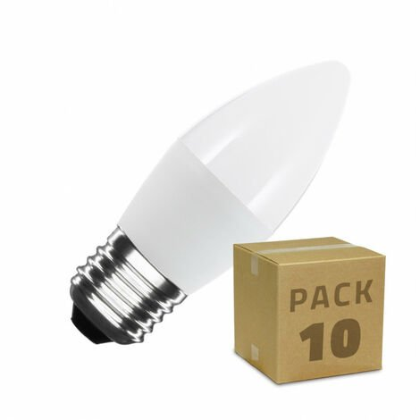 Pack Bombillas LED E27 Casquillo Gordo C37 5W (10 un) Blanco Frío 6000K - 6500K