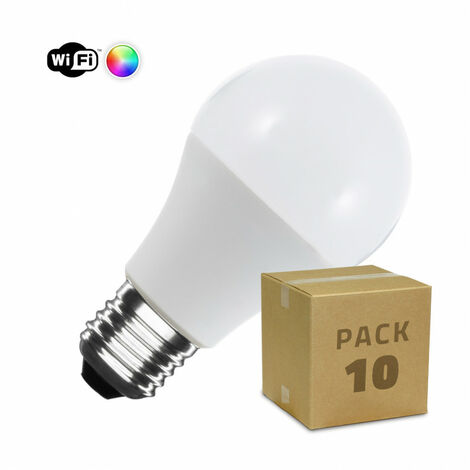 Pack 10 Bombillas LED Smart Wifi E27 Casquillo Gordo A60 Regulable RGBW 10W RGBW