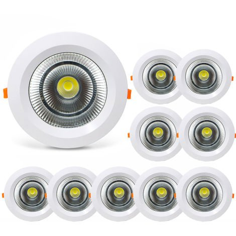 Pack 10 Downlight LED Redondo SUNT 40W con 3800 Lm. 6000K Blanco Frío