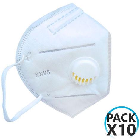 Pack 10 Mascarillas EPI FFP2 No Reutilizables KN95 con Válvula Blanco O91