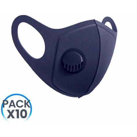 Pack 10 Mascarillas Reutilizables con Válvula Azul Marino O91