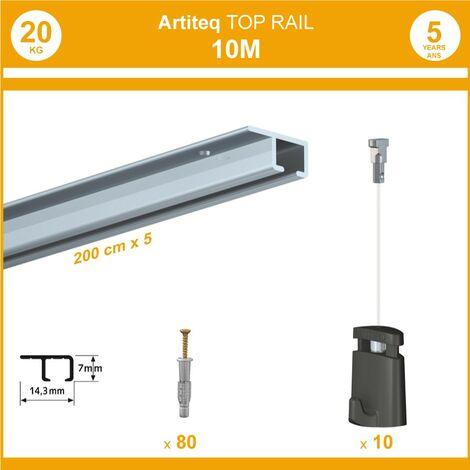 Pack 10 mètres cimaise Top Rail couleur Aluminium anodisé - Cimaise rail plafond pour suspension cadres et tableaux - 10 câbles Micro Perlon 150 cm
