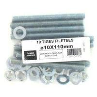 Pack 10 Threaded Rods M8 Batifix diameter 8 x 100mm