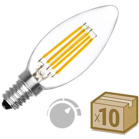 Pack 10 x Bombilla Filamento LED Vela E14 COB 6W, Regulable, Blanco cálido 2700K, regulable - Blanco cálido 2700K