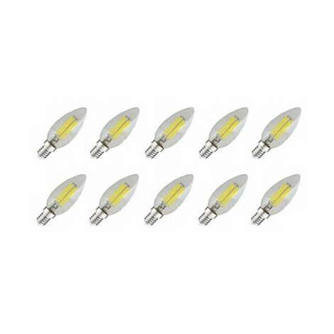 Pack 10x Ampoule LED Blanc froid E14 Filament Flamme 4W (35W) 6000°K - Blanc froid
