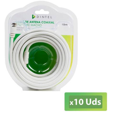 Pack 10x Cable antena 10 Metros Dintel IEC Macho-F BLANCO Blister