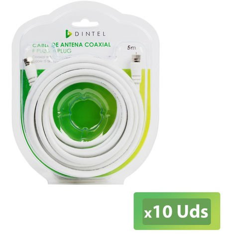 Pack 10x Cable antena 5 Metros Dintel F-F BLANCO Blister