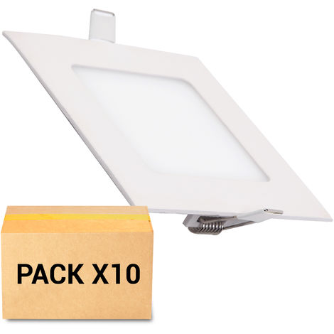 PACK 10X FOCOS EMPOTRABLES LED 12W 4000K CUADRADO