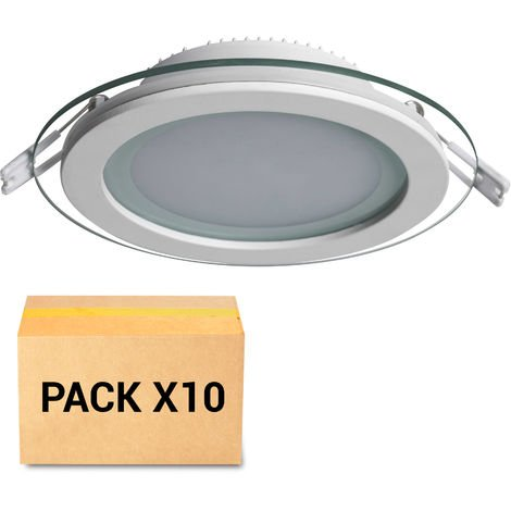PACK 10X FOCOS EMPOTRABLES LED 18W 4000K CIRCULAR CON CRISTAL