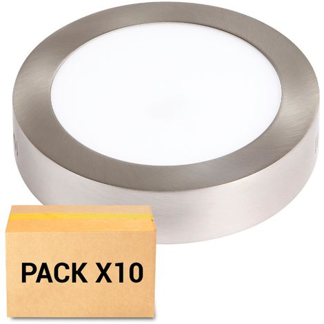 PACK 10X PLAFONES LED 12W 3000K REDONDO NIQUEL