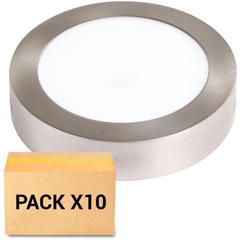 PACK 10X PLAFONES LED 18W 3000K REDONDO NIQUEL
