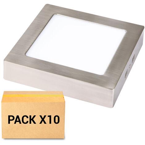 PACK 10X PLAFONES LED 6W 3000K CUADRADO NIQUEL