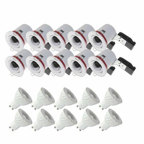 Pack 10x Support de Spot LED inclinable + Ampoule LED GU10 6W 4000°K - Blanc jour