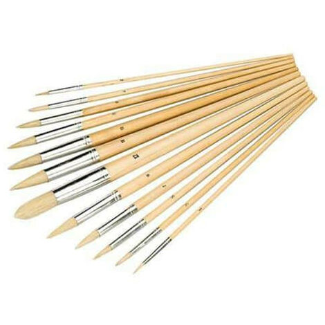 Pack 12 Artist Brushes Pointed Ends