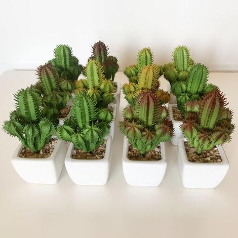 Pack 12 cactus cardon surtidos artificiales con maceta de ceramica
