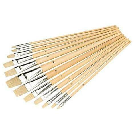 Pack 12 flat tip artist brushes