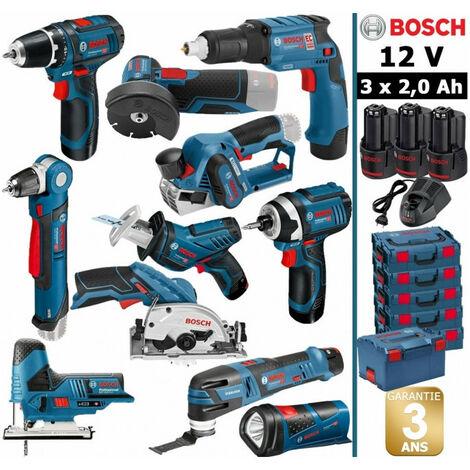 Pack 12V 11 outils: Perceuse GSR + Perceuse d'angle GWB + Visseuse plaquistes GTB + Rabot GHO + Meuleuse GWS + Visseuse à chocs GDR + Scie circulaire GSK + Scie sauteuse GST + Scie sabre GSA + Découpeur + Lampe + 3 batt 2Ah BOSCH