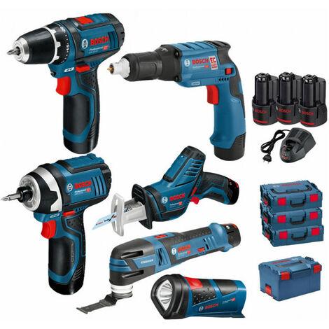 Pack 12V 6 outils: Perceuse GSR 12V-15 + Visseuse plaquistes GTB 12V-11 + Visseuse à chocs GDR 12V-105 + Scie sabre GSA 12V-14 + Découpeur-ponceur GOP 12V-28 + Lampe GLI 12V-80 + 3 batt 2Ah BOSCH