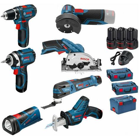 Pack 12V 7 outils: Perceuse GSR 12V-15 + Meuleuse GWS 12V-76 + Visseuse à chocs GDR 12V-105 + Scie circulaire GSK 12V-26 + Scie sabre GSA 12V-14 + Découpeur-ponceur GOP 12V-28 + Lampe GLI 12V-80 + 3 batt 2Ah BOSCH