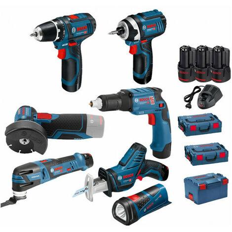 Pack 12V 7 outils: Perceuse GSR 12V-15 + Visseuse à chocs GDR 12V-105 + Meuleuse angulaire GWS 12V-76 + Visseuse plaquistes GTB 12V-11 + Scie sabre GSA 12V-14 + Découpeur-ponceur GOP 12V-28 + Lampe GLI 12V-80 + 3 batt 2Ah BOSCH
