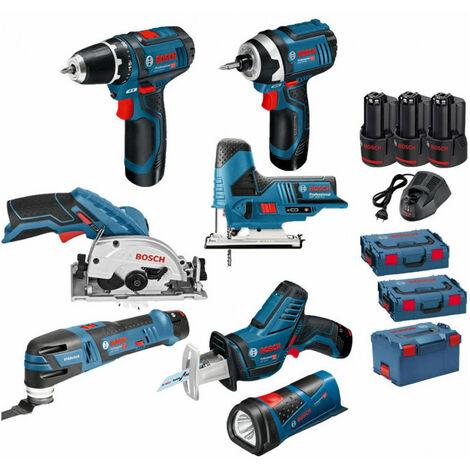 Pack 12V 7 outils: Perceuse GSR 12V-15 + Visseuse à chocs GDR 12V-105 + Scie circulaire GSK 12V-26 + Scie sauteuse GST 12V-70 + Scie sabre GSA 12V-14 + Découpeur-ponceur GOP 12V-28 + Lampe GLI 12V-80 + 3 batt 2Ah BOSCH