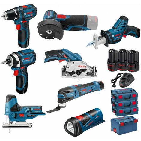Pack 12V BOSCH 8 outils: Perceuse GSR 12V-15 + Meuleuse GWS 12V-76 + Visseuse à chocs GDR 12V-105 + Scie circulaire GSK 12V-26 + Scie sauteuse GST 12V-70 + Scie sabre GSA 12V-14 + Découpeur-ponceur GOP 12V-28 + Lampe GLI 12V-80 + 3 batt 2Ah