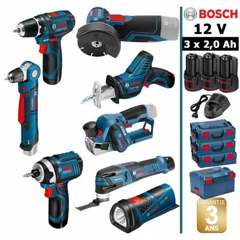 Pack 12V 8 outils: Perceuse GSR 12V-15 + Perceuse d'angle GWB 12V10 + Rabot GHO 12V-20 + Meuleuse GWS 12V-76 + Visseuse à chocs GDR 12V-105 + Scie sabre GSA 12V-14 + Découpeur-ponceur GOP 12V-28 + Lampe GLI 12V-80 + 3 batt 2Ah BOSCH