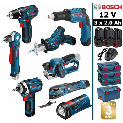 Pack 12V 8 outils: Perceuse GSR 12V-15 + Perceuse d'angle GWB 12V10 + Rabot GHO 12V-20 + Visseuse plaquistes GTB 12V-11 + Visseuse à chocs GDR 12V-105 + Scie sabre GSA 12V-14 + Découpeur-ponceur GOP 12V-28 + Lampe GLI 12V-80 + 3 batt 2Ah BOSCH