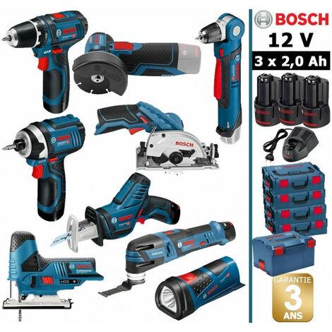 Pack 12V BOSCH 9 outils: Perceuse GSR 12V-15 + Perceuse d'angle GWB 12V-10 + Meuleuse GWS 12V-76 + Visseuse à chocs GDR 12V-105 + Scie circulaire GSK 12V-26 + Scie sauteuse GST + Scie sabre GSA + Découpeur + Lampe + 3 batt 2Ah