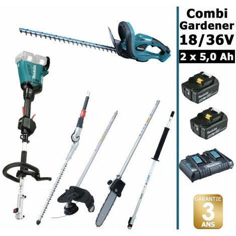 Pack 18/36V Combi Gardener: outil multifonction 36V avec 4 accessoires + taille haie 18V 52cm + 2 batt 5Ah MAKITA DUX60 DUH523