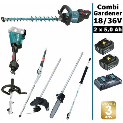 Pack 18/36V Combi Gardener: outil multifonction 36V avec 4 accessoires + taille haie 18V 60cm + 2 batt 5Ah MAKITA DUX60 DUH602