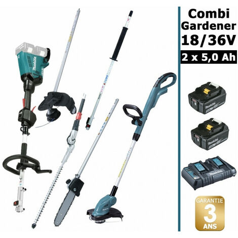 Pack 18/36V Combi Gardener: outil multifonction avec 4 accessoires + coupe herbes + 2 batt 5Ah MAKITA DUX60 DUR181
