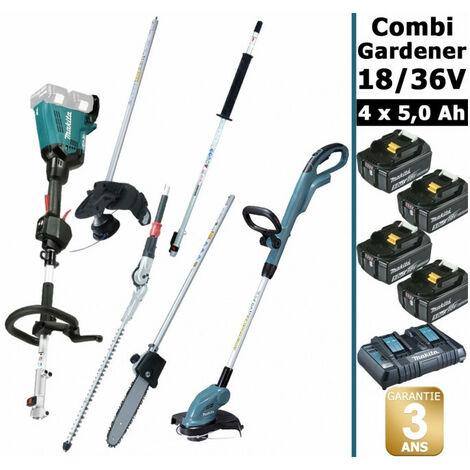 Pack 18/36V Combi Gardener: outil multifonction avec 4 accessoires + coupe herbes + 4 batt 5Ah MAKITA DUX60 DUR181