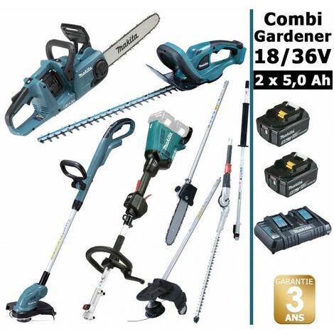Pack 18/36V Combi Gardener: outil multifonction avec 4 accessoires + tronçonneuse 36V 35cm + coupe herbe 18V + taille haie 18V 52cm + 2 batt 5Ah MAKITA DUX60 DUC353 DUR181 DUH523