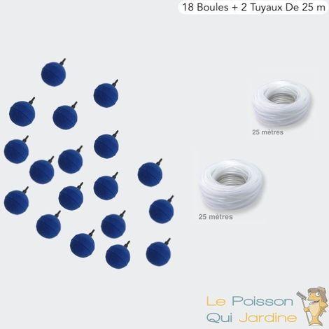 Pack 18 Diffuseurs D'air, Boule 5 cm + 2 Tuyaux De 25m, Aération Bassin