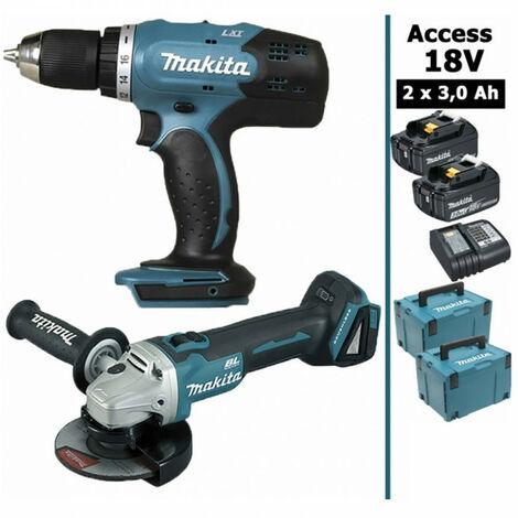 Pack 18V 3Ah: Perceuse 42Nm DDF453 + Meuleuse DGA452 115mm + 2 batteries + 2 MakPac MAK28230RFJ MAKITA