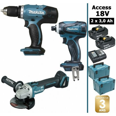 Pack 18V 3Ah: Perceuse 42Nm DDF453 + Visseuse à chocs 160Nm DTD146 + Meuleuse 115mm DGA452 + 2 batteries + 2 coffret MAKPAC MAK3211SFJ MAKITA