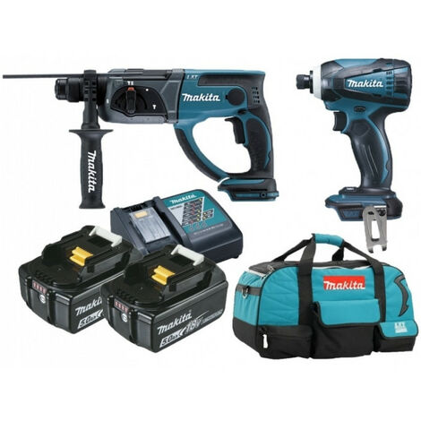 Pack 18V 5Ah: Perforateur 2J DHR202 + Visseuse à chocs 160Nm DTD146 + 2 batt 5Ah + sac MAKITA