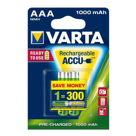 Pack 2 accus AAA 1000mAh Varta Professional Ready to use