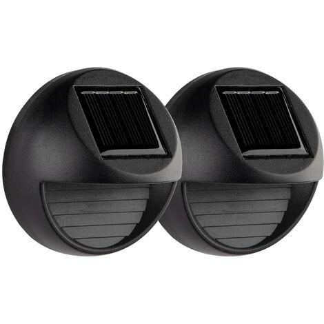 Pack 2 Apliques de Pared Solares LED Exterior Negro 3000K 7hSevenOn Outdoor