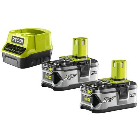 Pack 2 batteries RYOBI 18V OnePlus 4.0Ah - chargeur rapide 2.0Ah Lithium-ion RC18120-240