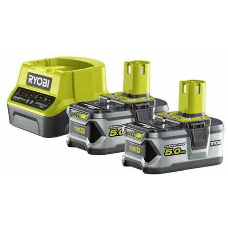 "main image of ""Pack 2 batteries RYOBI 18V OnePlus 5.0Ah LithiumPlus - 1 chargeur rapide 2.0Ah RC18120-250"""
