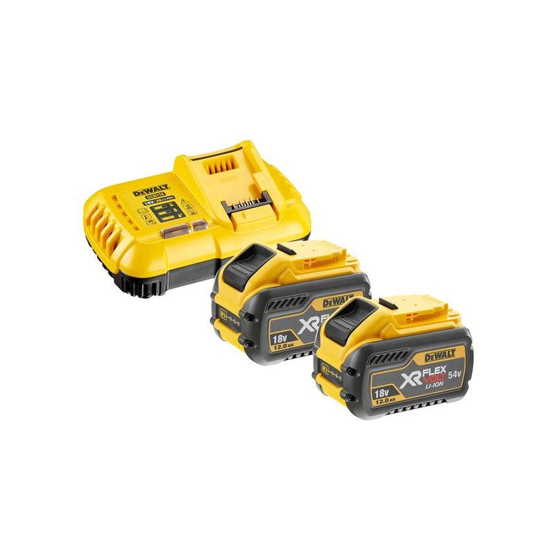 Dewalt - Pack 2 batteries XR Flexvolt 18V/54V 12Ah/4Ah Li-Ion + Chargeur - DCB118Y2-QW