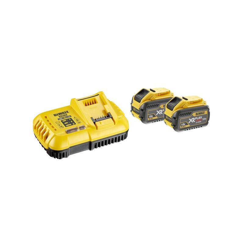 Dewalt - Pack 2 batteries XR Flexvolt 18V/54V 9Ah/3Ah Li-Ion + Chargeur - DCB118X2-QW