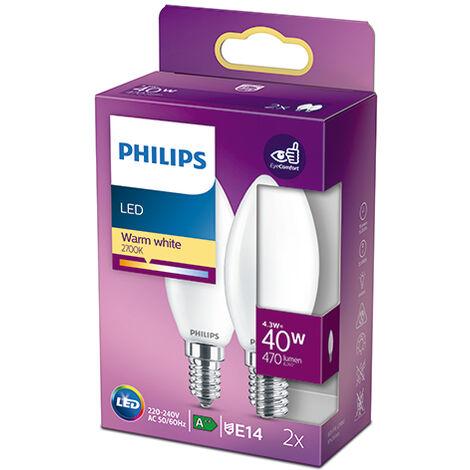 Pack 2 Bombilla LED Philips E14 B35 4.3W 470Lm 2700K [PH-929001345367] (PH-929001345367)