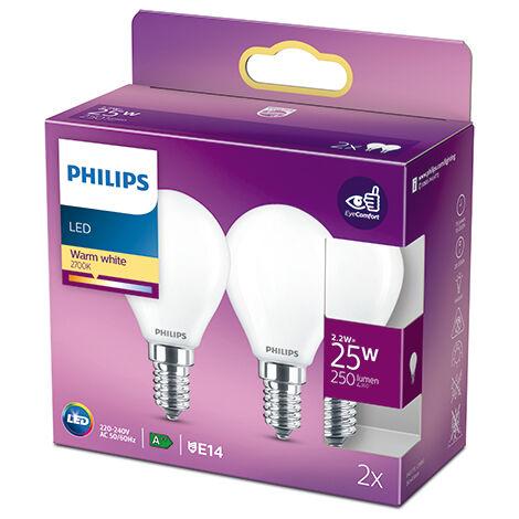 Pack 2 Bombilla LED Philips E14 P45 2.2W 250Lm 2700K [PH-929001345470] (PH-929001345470)