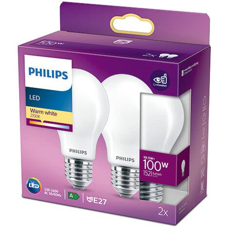Pack 2 Bombilla LED Philips E27 A60 10.5W 1521Lm 2700K [PH-929002026457] (PH-929002026457)