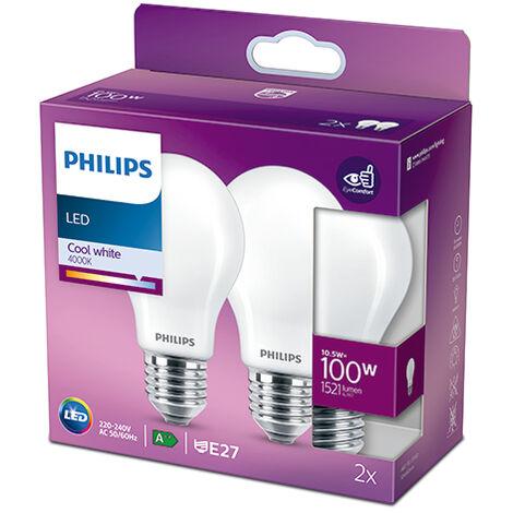 Pack 2 Bombilla LED Philips E27 A60 10.5W 1521Lm 4000K [PH-929002026557] (PH-929002026557)