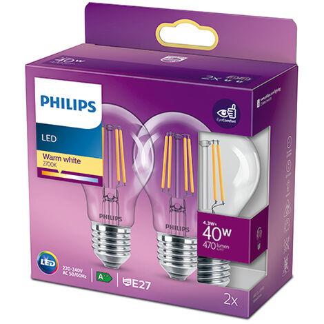 Pack 2 Bombilla LED Philips E27 A60 4.3W 470Lm 2700K [PH-929001890067] (PH-929001890067)