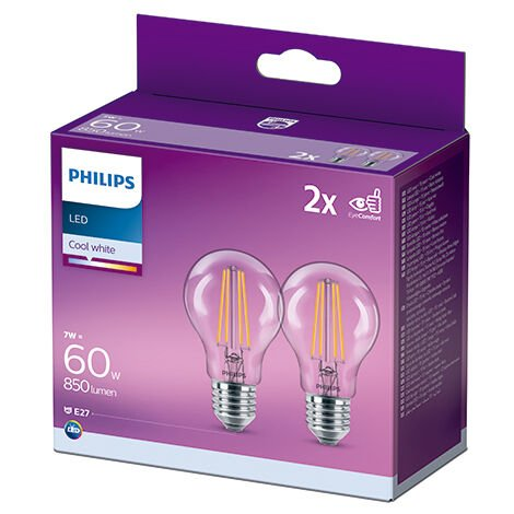 Pack 2 Bombilla LED Philips E27 A60 7W 850Lm 4000K [PH-929001815076] (PH-929001815076)